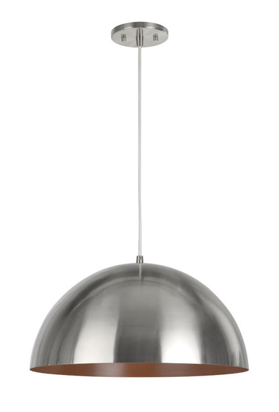 "# 61040-3 Adjustable 1 Light Hanging Pendant Ceiling Light, Transitional Design, Satin Nickel, Metal Dome Shade, 17 3/4"" W"