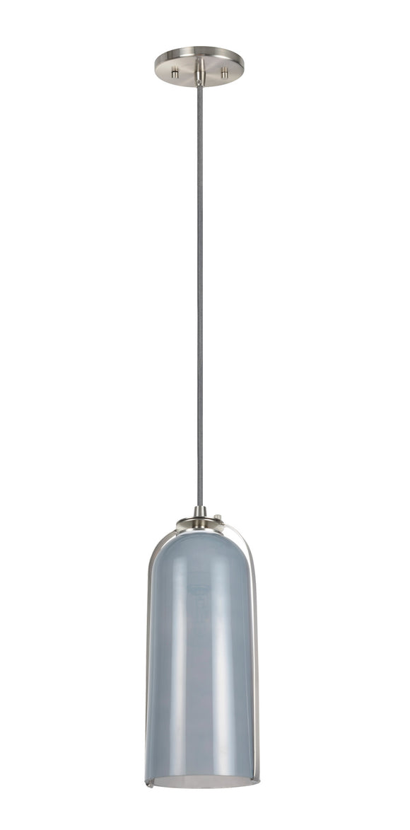 # 61043 Adjustable One-Light Hanging Mini Pendant Ceiling Light, Transitional Design in Satin Nickel Finish, Grey Glass Shade, 5