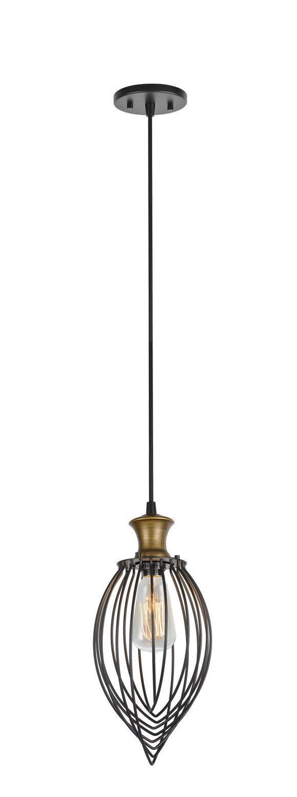 # 61049 1-Light Hanging Mini Pendant Ceiling Light, Transitional Design, Oil Rubbed Bronze Finish and Metal Wire Shade, 7