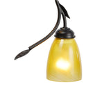 "# 61050 Two-Light Hanging Mini Pendant Ceiling Light, Transitional Design, Oil Rubbed Bronze Finish, Leaf Accents with Yellow Gold Art Glass Shade, 13 5/8"" W"