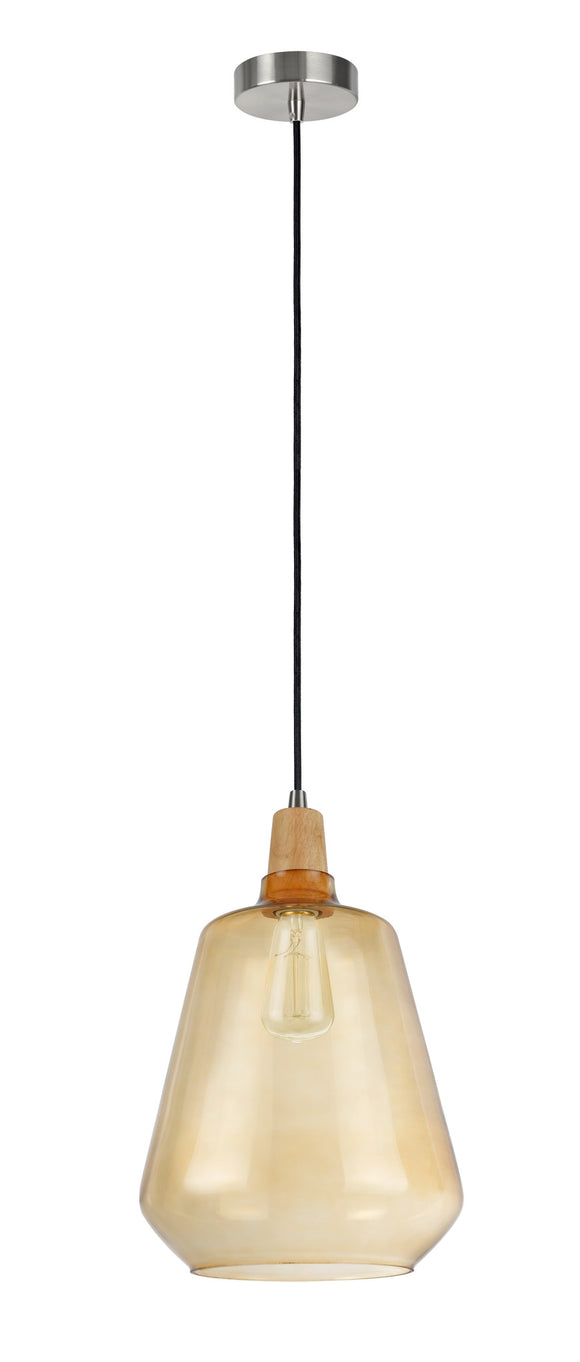 # 61051-1 Adjustable 1 Light Hanging Mini Pendant Ceiling Light, Transitional Design, Satin Nickel, Amber Glass Shade, 9 1/4