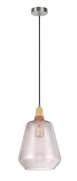 "# 61051-2 Adjustable 1 Light Hanging Mini Pendant Ceiling Light, Transitional Design, Satin Nickel, Smoke Glass Shade, 9 1/4"" W"