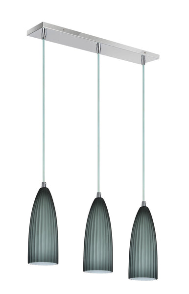 "# 61053 3-Light Hanging Pendant Ceiling Light, Transitional Design, Chrome Finish with Metallic Gray Opal Glass Shade, 22"" W, REGULAR PRICE $236.99 - Now..."