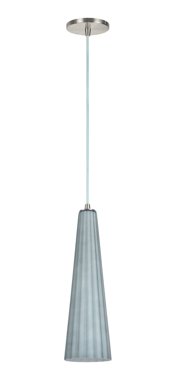 # 61056  Adjustable 1 Light Hanging Mini Pendant Light, Transitional Design, Satin Nickel, Metallic Grey Glass Shade, 4 5/8