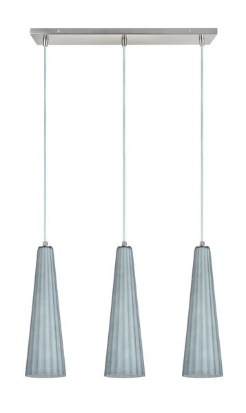 "# 61057 Adjustable 3 Light Hanging Pendant Ceiling Light, Transitional Design, Satin Nickel, Metallic Grey Glass Shade, 22"" W, REGULAR PRICE $268.99 - Now..."
