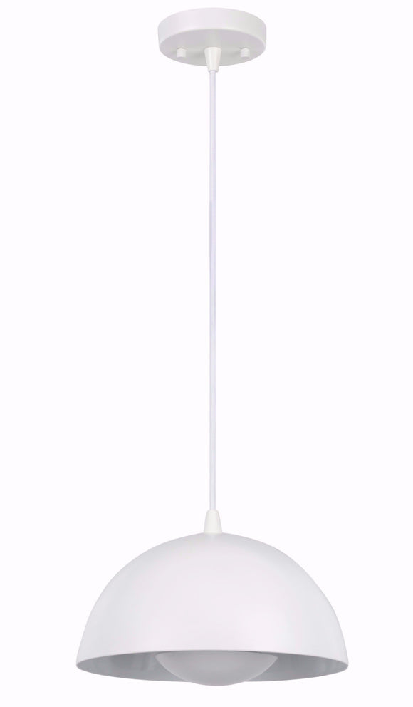 # 61065-2 Adjustable LED 1 Light Hanging Mini Pendant Ceiling Light, Contemporary Design, White, Metal Dome Shade, 10