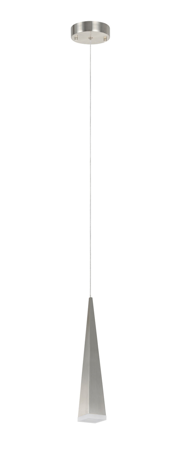 # 61067-1 Adjustable LED One-Light Hanging Mini Pendant Ceiling Light, Contemporary Design in Brushed Nickel Finish, Metal Shade, 4 3/4