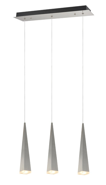 "# 61068-1 Adjustable LED 3 Light Hanging Pendant Ceiling Light, Contemporary, Brushed Nickel, Metal Shade, 23"" W, REGULAR PRICE $365.99 - Now..."