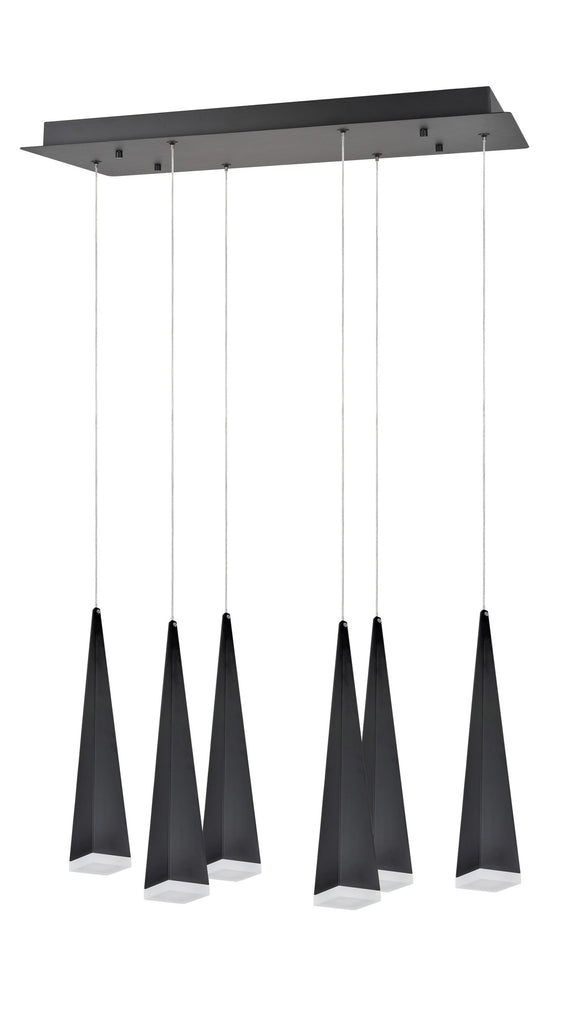 # 61069-2 Adjustable LED Six-Light Hanging Pendant Ceiling Light, Contemporary Design in Black Finish, Metal Shade, 24