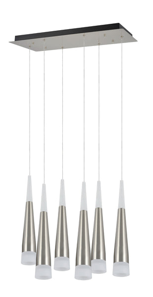 # 61074  Adjustable LED 6 Light Pendant Ceiling Light, Contemporary Design, Brushed Nickel, Frosted Glass Shade, REGULAR PRICE $598.99 - Now...