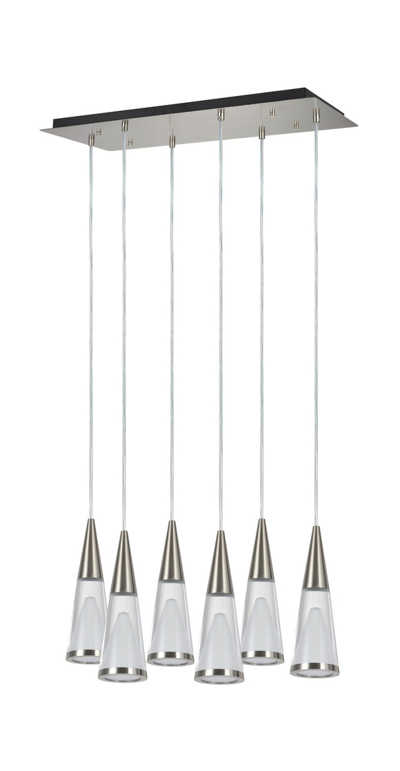 # 61075 Adjustable LED Six-Light Hanging Pendant Ceiling Light, Contemporary Design in Brushed Nickel Finish, Glass Shade, 24-1/2