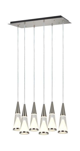"# 61075  Adjustable LED 6 Light Hanging Pendant Ceiling Light, Contemporary Design in Brushed Nickel, Glass Shade, 24 1/2"" L, REGULAR PRICE $801.99 - Now..."