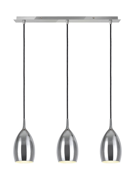 "# 61078-1 Adjustable 3 Light Hanging Pendant Ceiling Light, Transitional Design in Chrome Finish, Metal Shade, 24"" W"