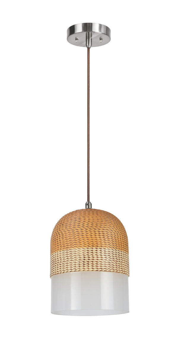 # 61079-2 Adjustable One-Light Hanging Mini Pendant Ceiling Light, Transitional Design in Chrome Finish, Etched Glass with Brown & White Two-Tone Color Shade, 8