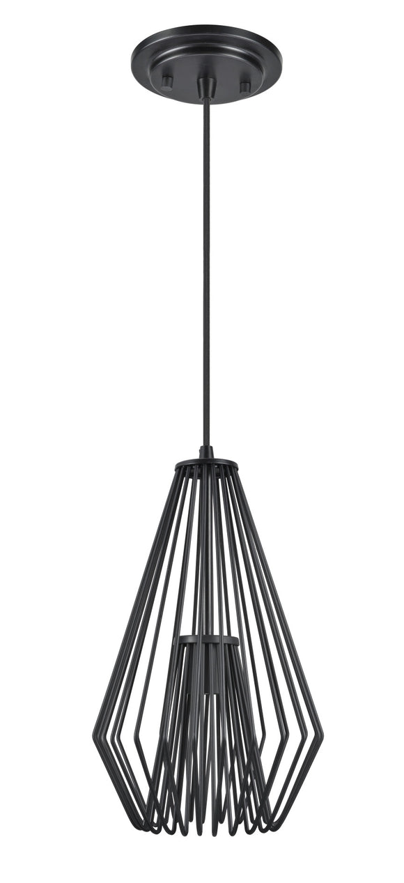 # 61080-1 Adjustable One-Light Hanging Mini Pendant Ceiling Light, Transitional Design in Black Finish, Metal Wire Shade, 9 1/2
