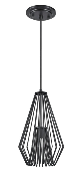 "# 61080-1 Adjustable 1 Light Hanging Mini Pendant Ceiling Light, Transitional Design in Black Finish, Metal Wire Shade, 9 1/2"" Wide"
