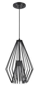 "# 61081-1 Adjustable 1 Light Hanging Mini Pendant Ceiling Light, Transitional Design in Black Finish, Metal Wire Shade, 12"" W, REGULAR PRICE $149.99 - Now..."