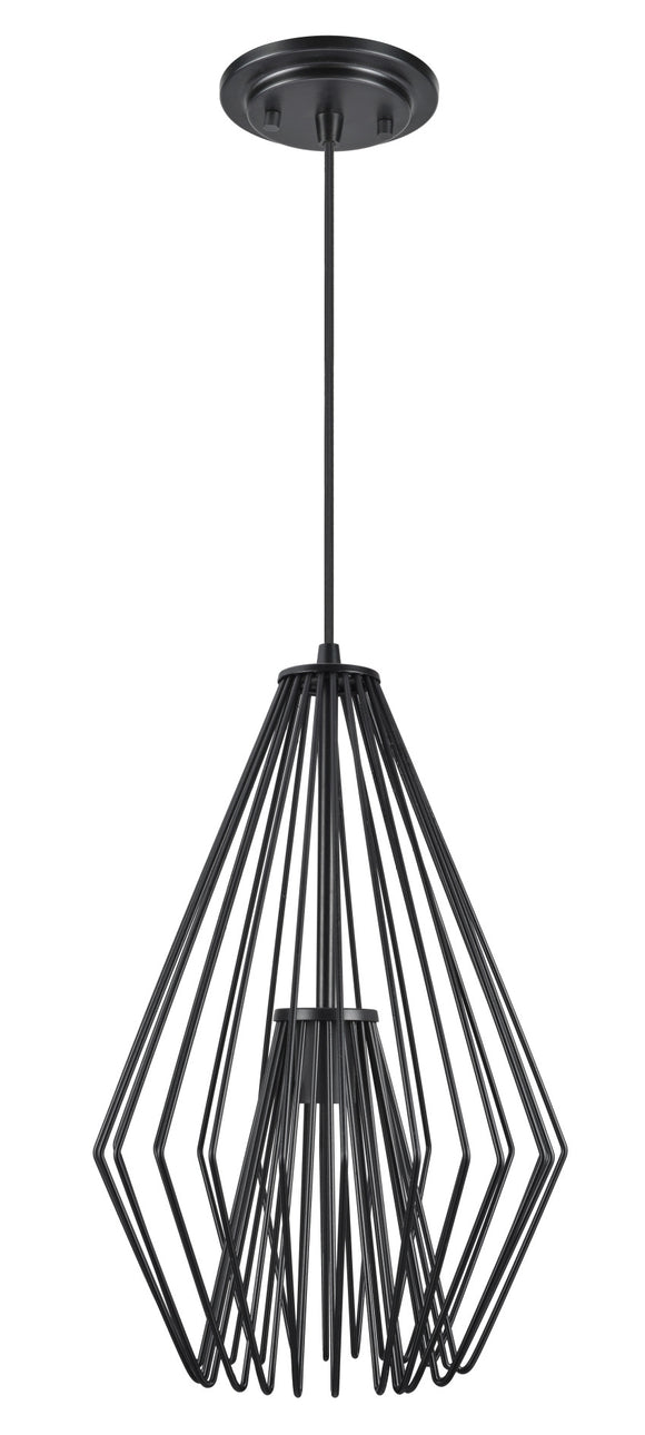 # 61081-1 Adjustable 1 Light Hanging Mini Pendant Ceiling Light, Transitional Design in Black Finish, Metal Wire Shade, 12