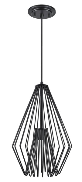"# 61081-1 Adjustable 1 Light Hanging Mini Pendant Ceiling Light, Transitional Design in Black Finish, Metal Wire Shade, 12"" Wide"