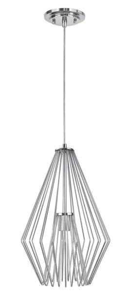 "# 61081-2 Adjustable 1 Light Hanging Mini Pendant Ceiling Light, Transitional Design in Chrome Finish, Metal Wire Shade, 12"" W, REGULAR PRICE $156.99 - Now..."