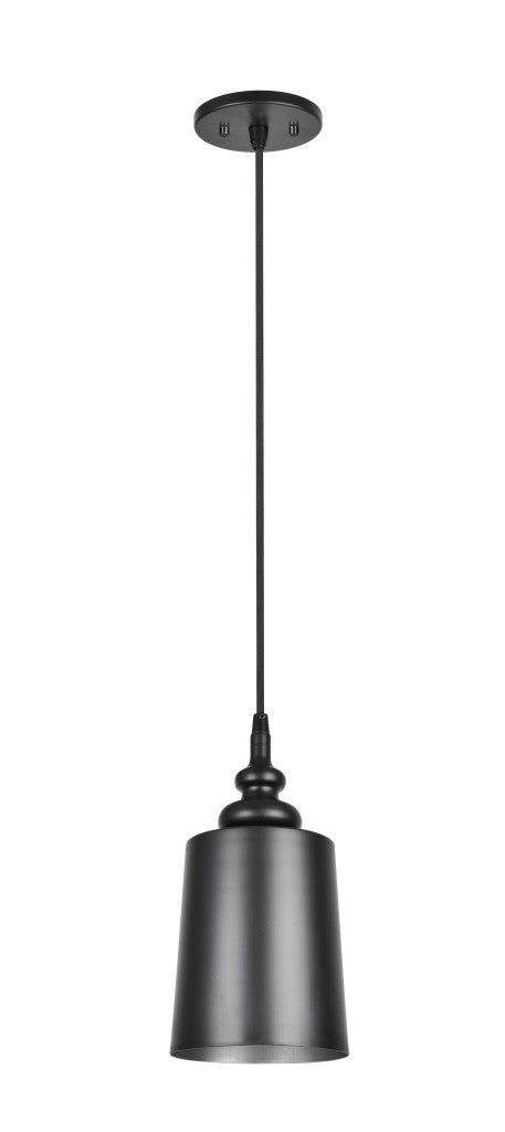# 61083 1-Light Hanging Mini Pendant Ceiling Light, Transitional Design in Matte Black Finish, Matte Black Metal Shade with Painted Pewter Finish Inside, 6 1/2