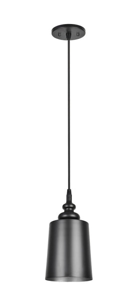 "# 61083 1-Light Hanging Mini Pendant Ceiling Light, Transitional Design in Matte Black Finish, Matte Black Metal Shade with Painted Pewter Finish Inside, 6 1/2"" W"