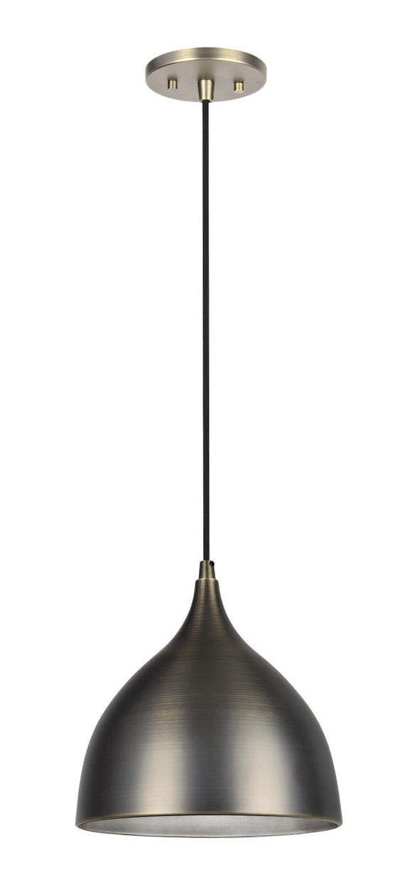 # 61086 1-Light Hanging Mini Pendant Ceiling Light, Transitional Design, Bronze Patina Finish, Bronze Patina Metal Shade with Painted Pewter Finish Inside, 9 3/4