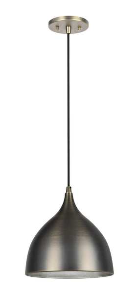 "# 61086 1-Light Hanging Mini Pendant Ceiling Light, Transitional Design, Bronze Patina Finish, Bronze Patina Metal Shade with Painted Pewter Finish Inside, 9 3/4"" W"