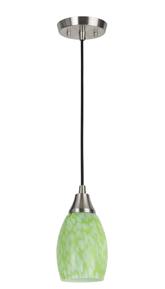 # 61088 1-Light Hanging Mini Pendant Ceiling Light, Transitional Design, Satin Nickel Finish, Art Glass Shade with Green Pattern, 4