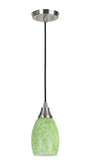 "# 61088 1-Light Hanging Mini Pendant Ceiling Light, Transitional Design, Satin Nickel Finish, Art Glass Shade with Green Pattern, 4"" W"