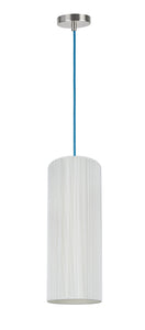 "# 61091-2, Adjustable One-Light Hanging Mini Pendant Ceiling Light, Transitional Design in Satin Nickel Finish, Off White Shade, 6 1/2"" wide"