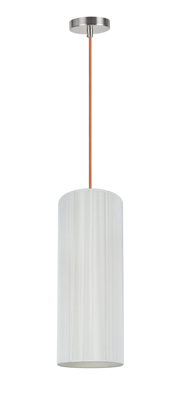 # 61091-3, Adjustable One-Light Hanging Mini Pendant Ceiling Light, Transitional Design in Satin Nickel Finish, Off White Shade, 6 1/2