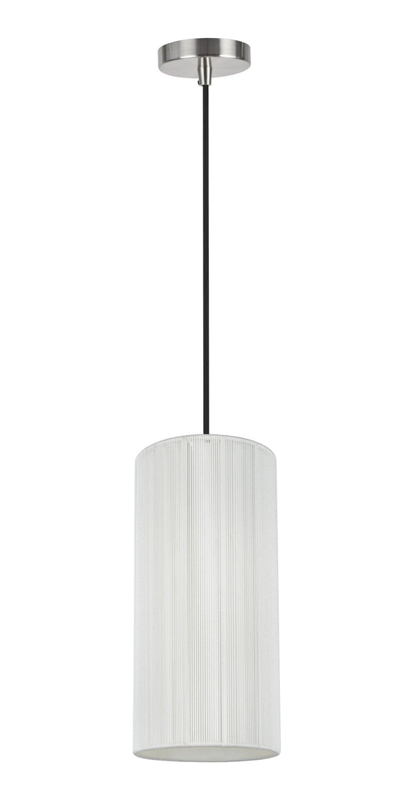 # 61092-1, Adjustable One-Light Hanging Mini Pendant Ceiling Light, Transitional Design in Satin Nickel Finish, Off White Shade, 6