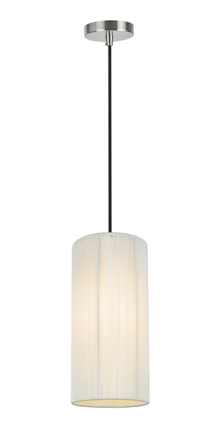 "# 61092-1  Adjustable 1 Light Hanging Mini Pendant Ceiling Light, Transitional Design in Satin Nickel Finish, Off White Shade, 6"" W"