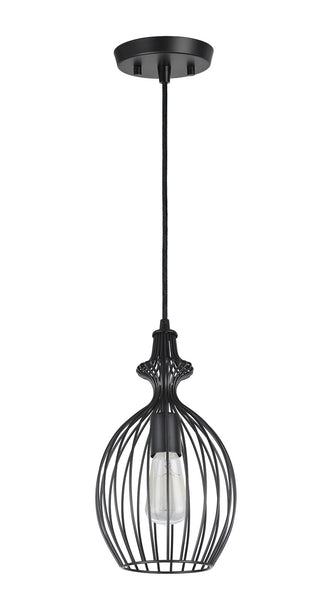 "# 61093 Adjustable 1 Light Hanging Mini Pendant Ceiling Light, Transitional Design, Matte Black Finish, Metal Wire Shade, 8"" W"