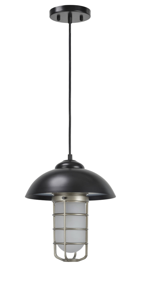 # 61094 Adjustable One-Light Hanging Mini Pendant Ceiling Light, Transitional Design in Matte Black Finish, Frosted Glass Shade, 3 3/8
