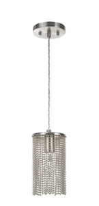 "# 61095 Adjustable One-Light Hanging Mini Pendant Ceiling Light, Transitional Design in Brushed Nickel Finish with Beaded Chain Shade, 5"" Wide"