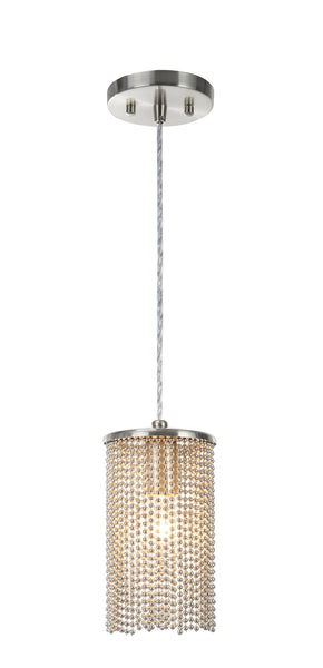 "# 61095 Adjustable 1 Light Hanging Mini Pendant Ceiling Light, Transitional Design in Brushed Nickel Finish with Beaded Chain Shade, 5"" Wide"