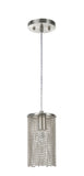 "# 61095 Adjustable 1 Light Hanging Mini Pendant Ceiling Light, Transitional Design in Brushed Nickel Finish with Beaded Chain Shade, 5"" Wide, REGULAR PRICE $81.99 - Now..."