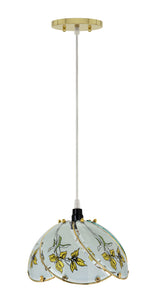 "# 61096, One-Light Hanging Mini Pendant Ceiling Light, 8 3/4"" Wide, Transitional Design in Polished Brass Finish, with Floral Pattern Glass Shade"