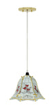 "# 61097, One-Light Hanging Mini Pendant Ceiling Light, 10"" Wide, Transitional Design in Polished Brass Finish, with Floral Pattern Glass Shade"