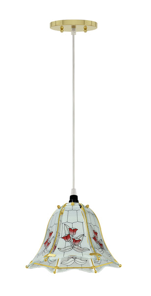 "# 61097, 1-Light Hanging Mini Pendant Ceiling Light, 10"" Wide, Transitional Design in Polished Brass Finish, with Floral Pattern Glass Shade"