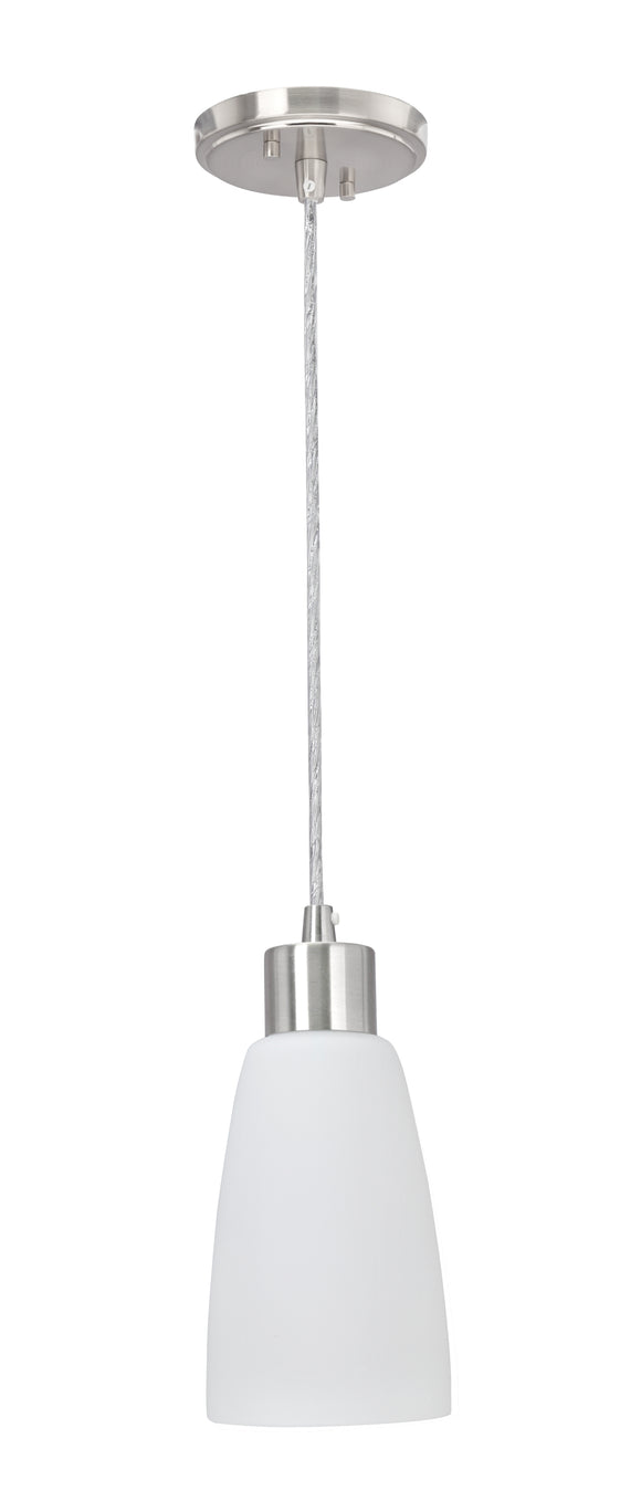 # 61098 Adjustable One-Light Hanging Mini Pendant Ceiling Light, Transitional Design in Chrome Finish, Opal Frosted Glass Shade, 4 1/4