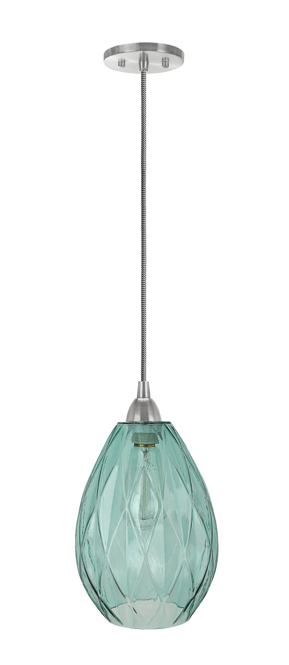 # 61099-11 Adjustable One-Light Mini Pendant Ceiling Light, Transitional Design in Satin Nickel Finish, Light Green Glass Shade, 7