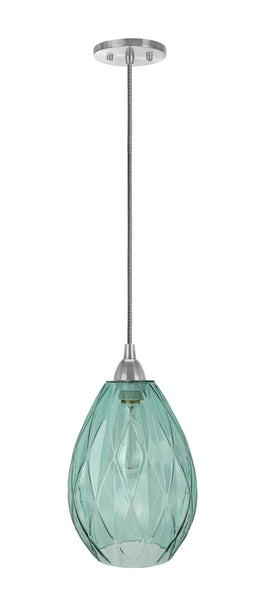 "# 61099-11 Adjustable One-Light Mini Pendant Ceiling Light, Transitional Design in Satin Nickel Finish, Light Green Glass Shade, 7"" Wide"