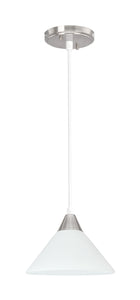 "# 61100 Adjustable One-Light Mini Pendant Ceiling Light, Transitional Design in Satin Nickel Finish with Frosted Glass Shade, 6-1/2"" Wide"