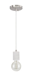 "# 61101-11 Adjustable One-Light Hanging Mini Pendant Ceiling Light, Transitional Design in White Marble Finish, 4 5/8"" Wide"