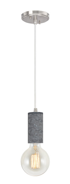 "# 61102-21 Adjustable One-Light Hanging Mini Pendant Ceiling Light, Transitional Design in Black Marble Finish, 4 5/8"" Wide"