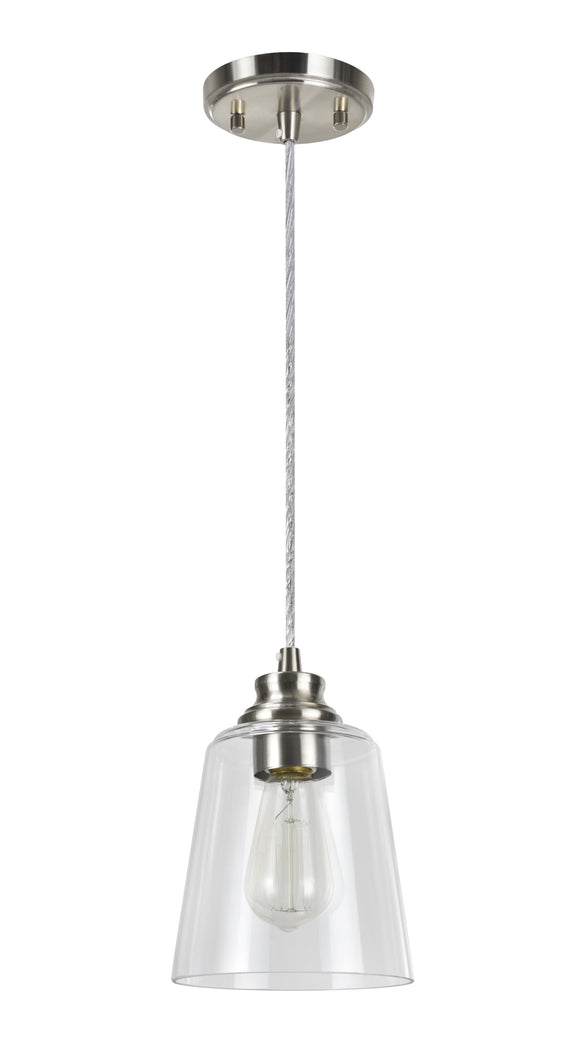 # 61103 Adjustable One-Light Hanging Mini Pendant Ceiling Light, Transitional Design in Satin Nickel Finish, Clear Glass Shade, 6-1/8