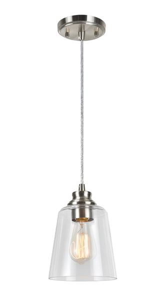 "# 61103 Adjustable One-Light Hanging Mini Pendant Ceiling Light, Transitional Design in Satin Nickel Finish, Clear Glass Shade, 6-1/8"" Wide"